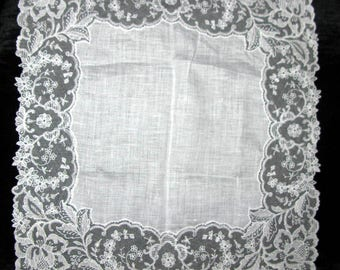 Gift For Bride Something Old Antique Wedding Handkerchief Lace Hankerchief