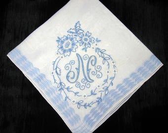 Bridal Gifts Wedding Handkerchief N Personalized Blue N D A S B G T L H or E Monogrammed Vintage
