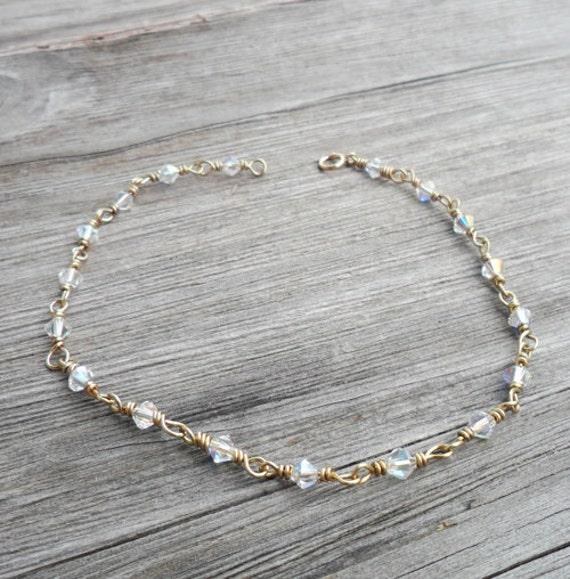 Anklet Gold Or Silver Wire Wrapped Swarovski Ankle Bracelet Etsy