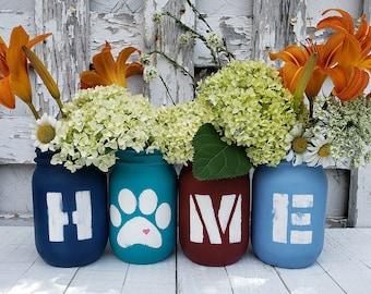 Hand Painted Mason Jars Set, Farmhouse Home Decor for Living Room, Pet Lover Gift, Pet Paw Print, Pet Decor for Home, Set of 4 Pint Jars