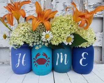 Nautical Decor, Rustic Mason Jar Decor, Home Decor Blue Mason Jars, Table Decor, Beach House Decor, Summer Mason Jars, Set of 4 Pint Jars