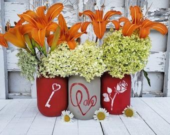 Red Painted Distressed Pint Mason Jars, Valentine's Day Decor, Heart Decor, Primitive Mason Jar Set, Tabletop Decorations, Set of Three Jars