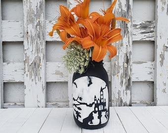 Halloween Mason Jar Centerpiece, Halloween Decorations, Painted Mason Jar Set, Rustic Home Decor, Halloween Decor, One 32 oz Mason Jar
