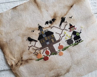PDF Cross Stitch Pattern / The House in the Woods Halloween Cross Stitch Pattern, Cute Pattern featuring a Witch, Pumpkins and Birds