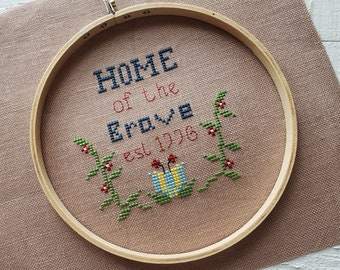 Instant Pattern / Home of the Brave Digital Cross Stitch Pattern, Summer Cross Stitch Pattern, Primitive Patriotic Cross Stitch Pattern