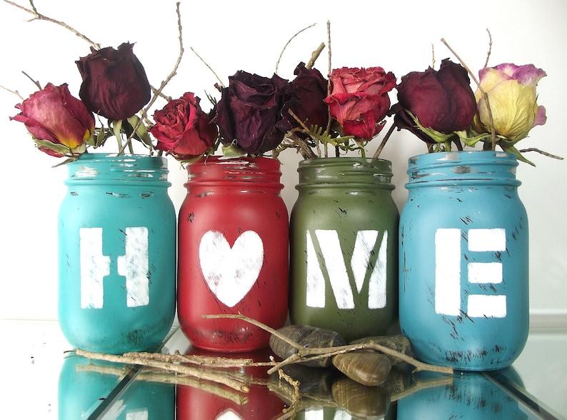 HOME Country Home Decor Mason Jar Decor Colored Mason Jars image 0