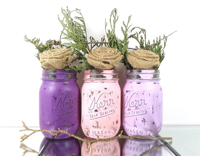 Painted Mason Jars Baby Shower, Room Decorations, Summer Party, Colorful  Home Decor, Distressed Decor, Cottage Chic Decor, Table Centerpiece
