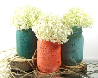 Autumn Decor, Distressed Mason Jars, Fall Decorations, Mason Jar Centerpieces, Autumn Decorations, Country Home Decor, Fall Centerpiece