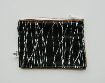 White Dotted Line Black Fabric Print Wallet