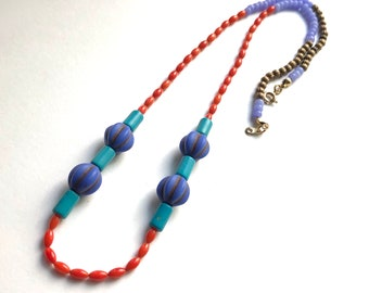 Candy Shop Bead Strand Necklace, Bright Saturated Colors, Glass Stone & Brass