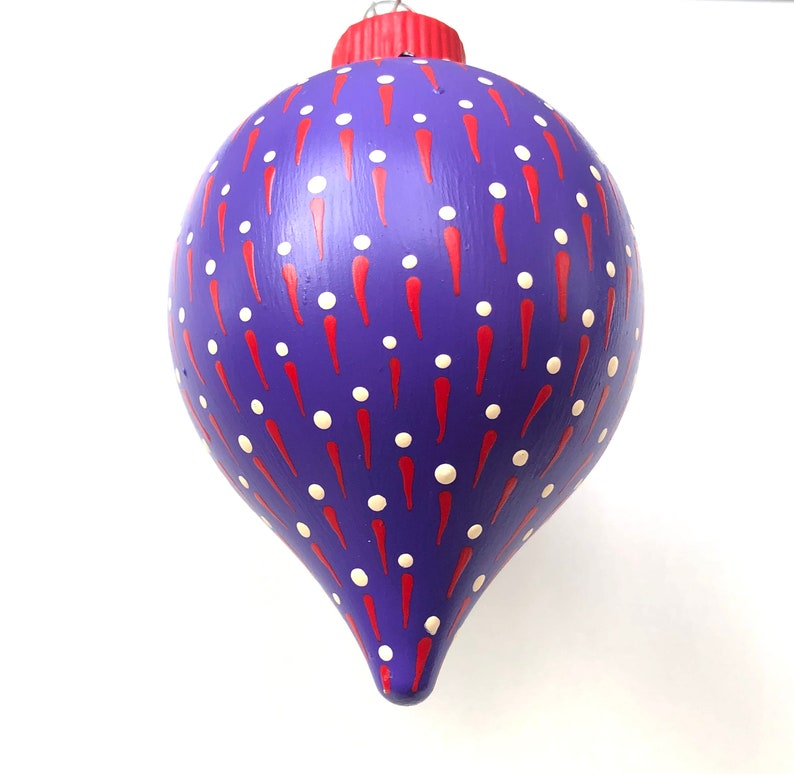 Hand Painted Purple White /& Red Tree Ornament   Abstract Colorful Christmas Teardrop  1980/'s Inspired Colors