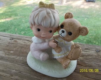 Homco Baby Girl Wearing Pink Holding a Teddy Bear #1424 from 70's