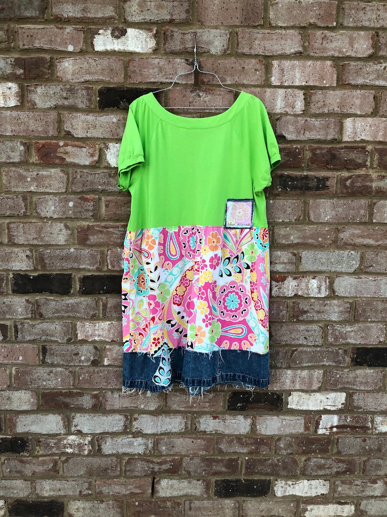 Upcycled Lime Green Bright Summer Dress