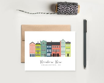Charleston Rainbow Row Greeting Card; Charleston, SC Cards; Charleston South Carolina Gift