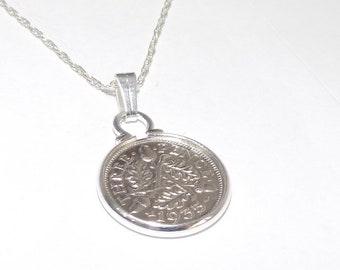 100/% satisfaction Presentation box included 84th Birthday Gift England genuine 1935 sixpence 1935 English Coin Pendant