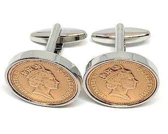 Pair Of 30th Birthday Gift 1991  Coin Cufflinks 30th Wedding Anniversary /& Bag