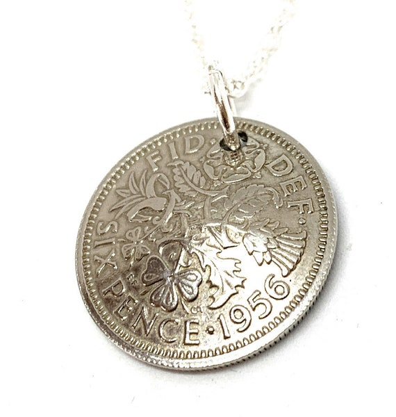 1956 English Sixpence Pendant 63rd Birthday