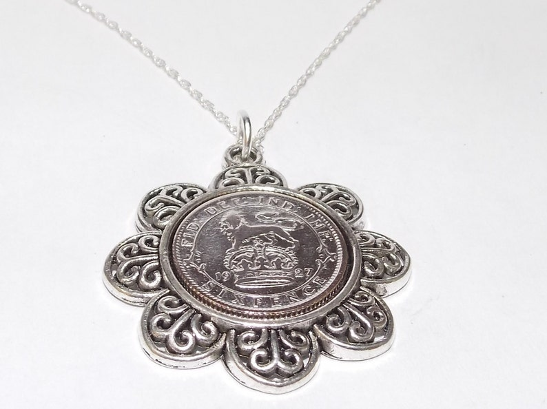 Floral Pendant 1927 Lucky sixpence 92nd Birthday plus a Sterling Silver 18in Chain 91st birthday 1927 coin pendant 1927 92nd birthday gift
