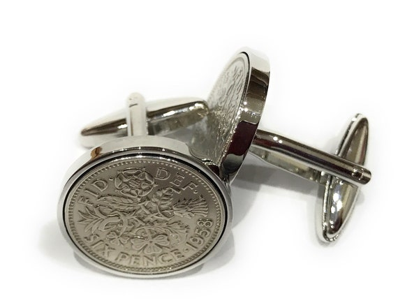Premium 1955 Lucky Sixpence Cufflinks for a 64th Birthday Cufflinks