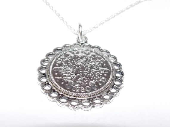 53rd Birthday Anniversary lucky sixpence coin pendant plus 20inch SS chain