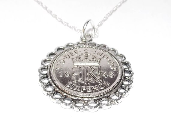 Fancy Pendant 1948 Lucky sixpence 71st Birthday Sterling Silver 24 inch chain