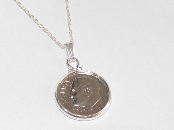 22in Sterling Silver Chain Circle Pendant 1967 Lucky sixpence 52nd Birthday