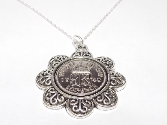 Birthday Lucky Silver Sixpence Fancy pendant 18inch chain 1939 80th 1949 70th