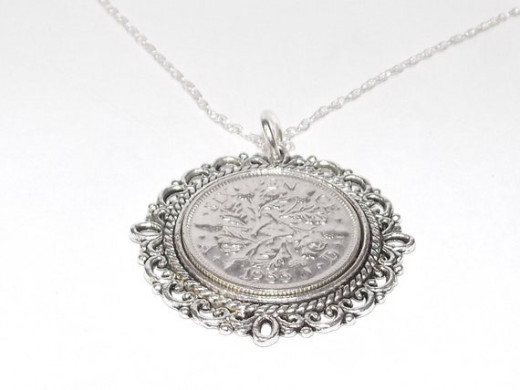 Fancy Pendant 1955 Lucky sixpence 64th Birthday Sterling Silver 20in chain