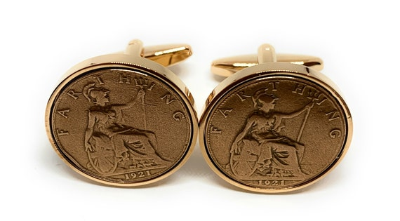 made into mens cuff links Original British decimal halfpence coins