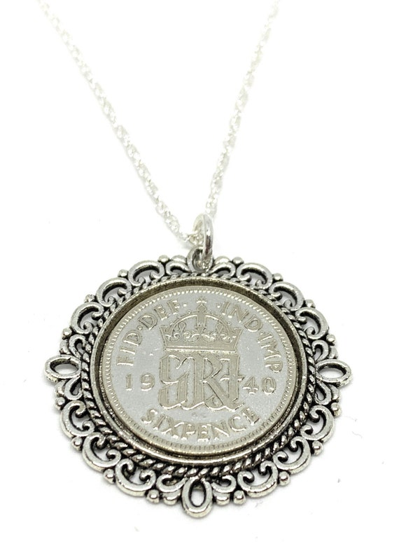 Anniversary sixpence coin pendant plus 18inch SS chain gift 1949 70th Birthday