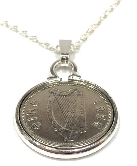 Anniversary sixpence coin pendant plus 20inch SS chain gift 1956 63rd Birthday