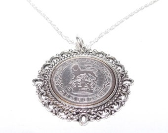 Fancy Pendant 1926 Lucky sixpence 95th Birthday plus a Sterling Silver 18in Chain, 95th birthday, 95th birthday gift, 1926 birthday, 1926