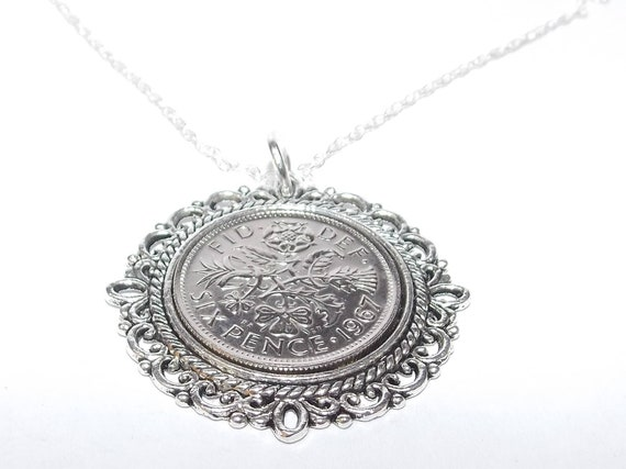 1967 51st Birthday lucky sixpence coin pendant charm