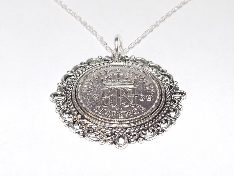 Fancy Pendant 1939 Lucky sixpence 80th Birthday plus a Sterling Silver 18in Chain 80th
