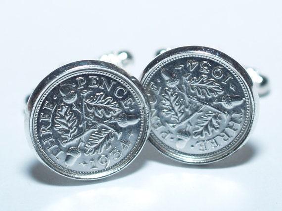 1939 80th Birthday Silver threepence coin cufflinks Great gift idea†