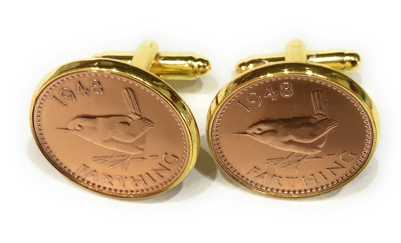 Luxury 1955 Farthing Cufflinks for a 66th birthday 66th birthday gift from 1955 Thinking Of You 66th Original british Farthings