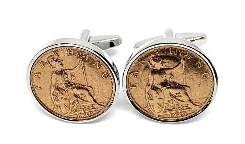 1920 101st Birthday Cufflinks Loved One Mum 1920 genuine Farthing coin cufflinks 101st Slv Thinking Of You Dad Special Friend