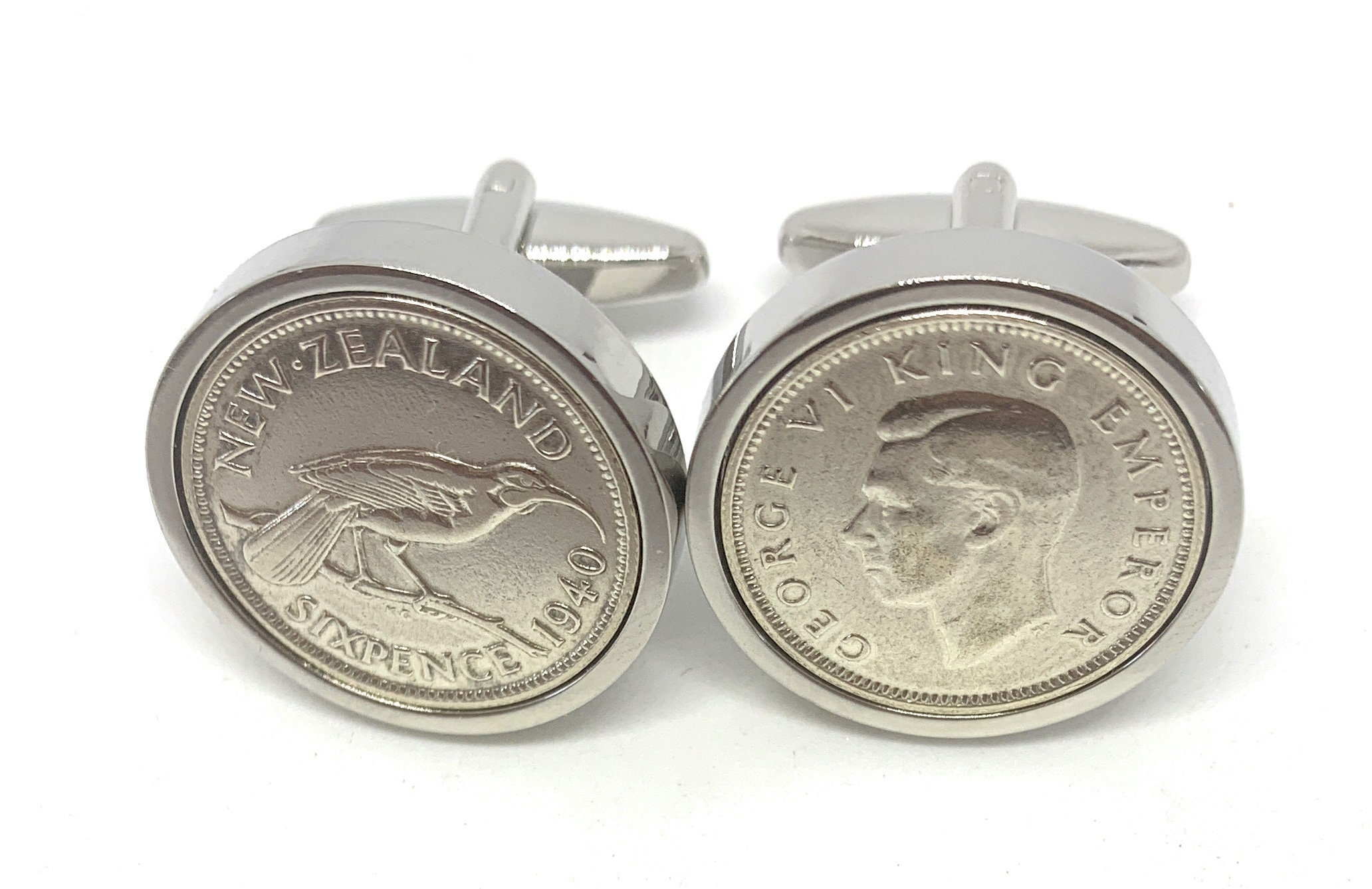 Original New Zealand sixpence coins Great gift from 1940 81st Thinking Of You 1940 Silver New Zealand Sixpence Cufflinks 81st birthday