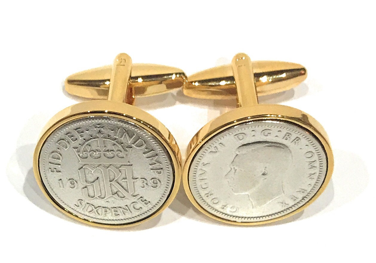 Luxury 1939 Sixpence Cufflinks For A 80th Birthday Mens Gift