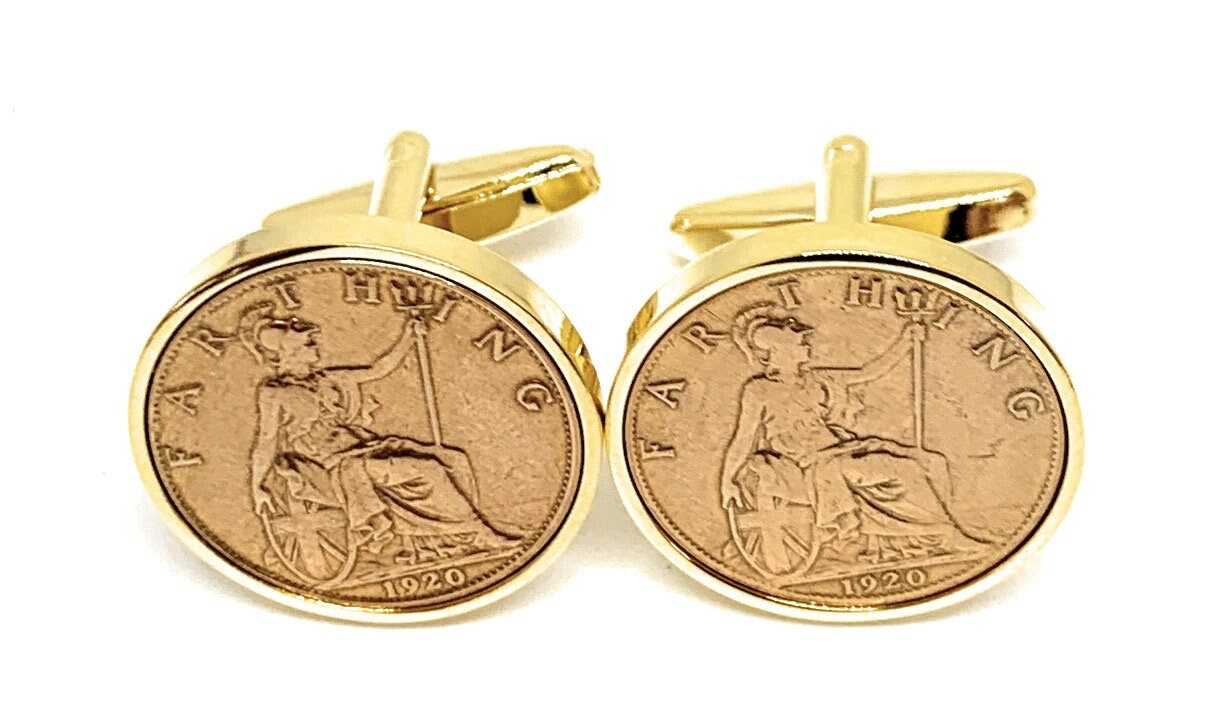 Two tone design 100th Anniversary gift 100th gift 1919 anniversary 100 years old 100th Birthday 1919 Gift Farthing Coin Cufflinks