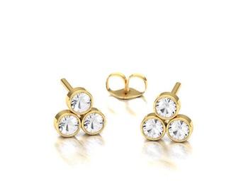 Triangle Shaped Diamond Earring / 14k Gold Bezel set Earring / Diamond Earring