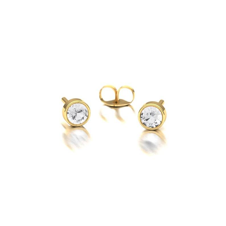 76b7451d4de739 Single Diamond Stud Earrings/ Bezel Set Diamond Earrings/ | Etsy