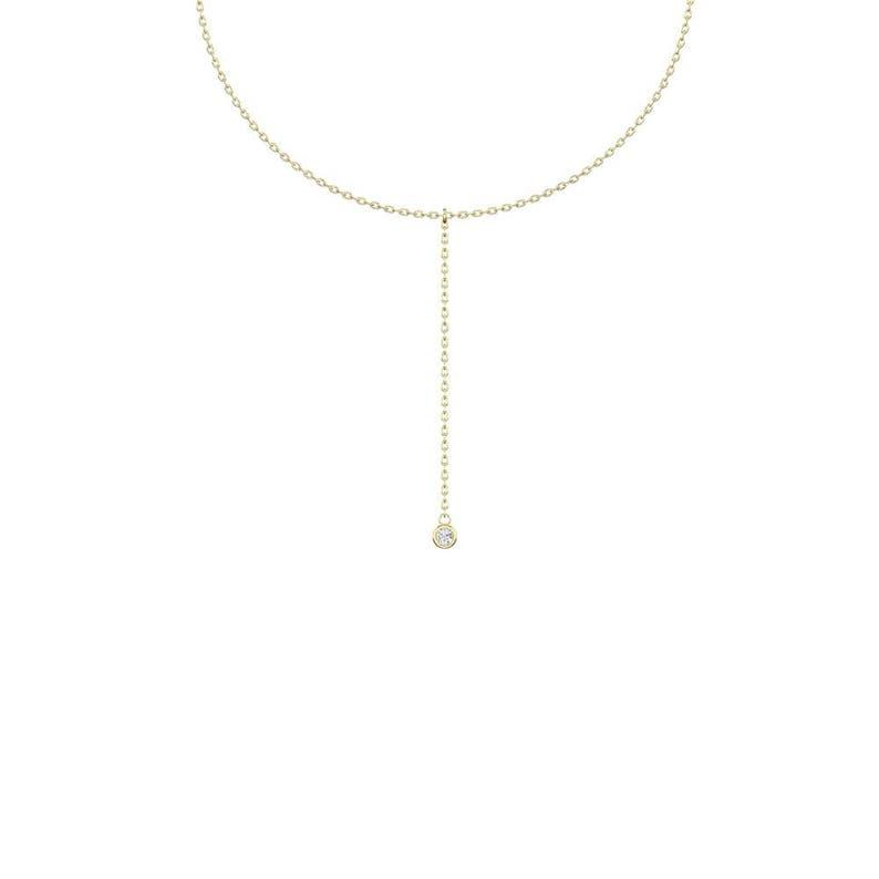e7f9524590f0ae Single Stone Diamond Lariat Necklace / 14k Gold Diamond Bezel | Etsy