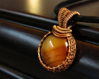 Agate Cabochon wrapped with copper wire