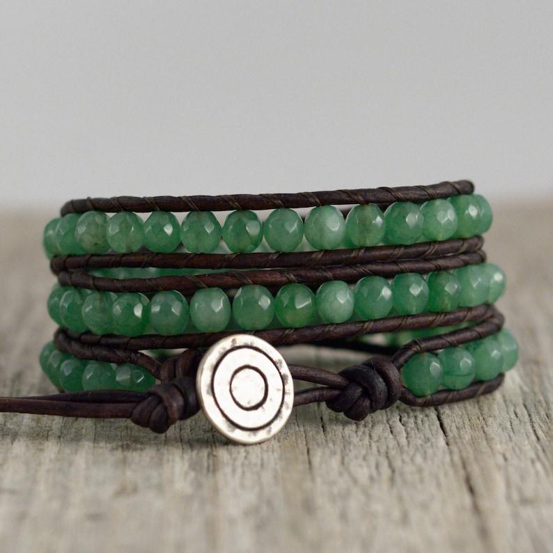 e52d83967 Green leather wrap bracelet. Bohemian beaded bracelet. Green