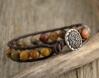 Bohemian chic cuff bracelet. Rustic beaded single wrap bracelet