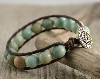 Beaded chunky single wrap bracelet. Mint green jewelry