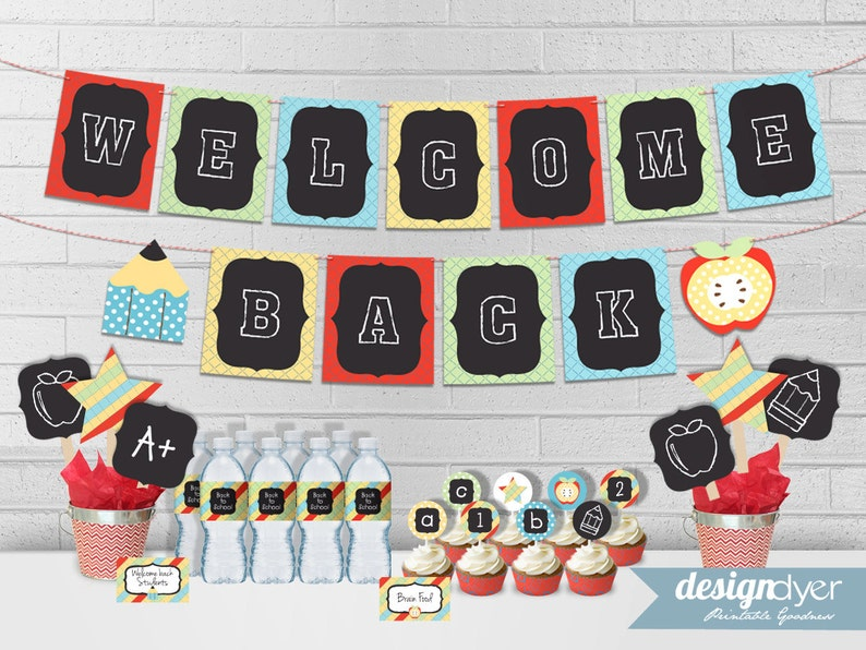 photograph regarding Welcome Back Signs Printable named Again In the direction of University Bash Printables - Welcome Back again Banner, Cupcake Toppers, Cupcake Wrappers, Bottle Wrappers, Tent Signs or symptoms