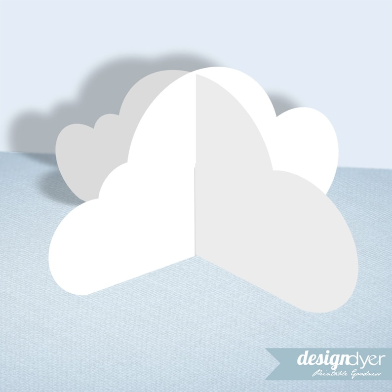 picture about Printable Clouds Cut Out identified as 3D Cloud Printable Decoration Template