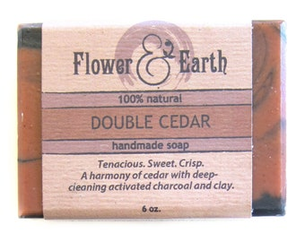 Double Cedar Activated Charcoal Soap: Red Clay Soap. Cedar Soap. Charcoal Bar Soap. Woodsy Soap. Vegan Soap for Him. Charcoal Facial Soap